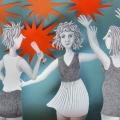 Mädelsabend, Bleistift auf Papier und Collage - 2015